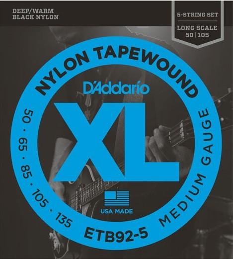 ETB92-5 Black Nylon Flatwound