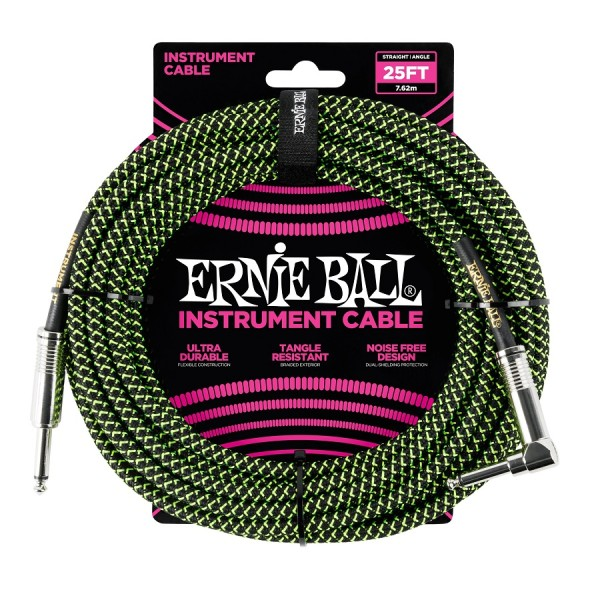 Ernie Ball - EB6066 bk neongrün 7,62m WK-K