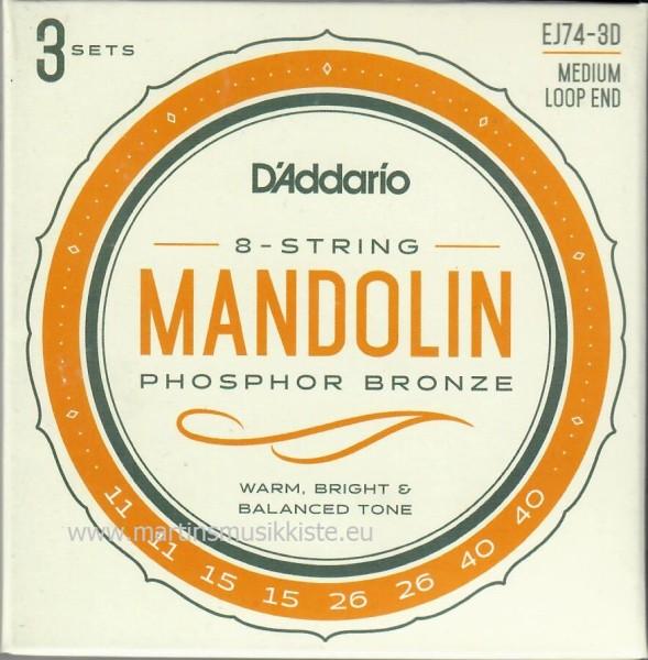 DAddario - EJ74-3D Mandolin Ph Br 11-40