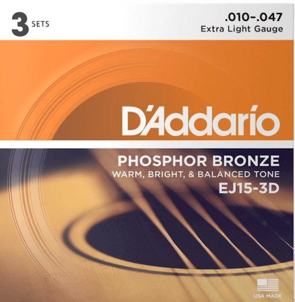 DAddario - EJ15-3D Ph Br 3er Pack XL